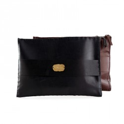 """""""Eye"""" Hand-stitched Leather MacBook Case with Brass Eye Sheet - Brown"""