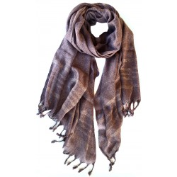 Raw Silk Scarf-Purple