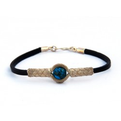 Kazaziye Silver Bracelet with Turquoise - Black Leather