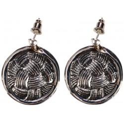 Silver Earrings Set with Lattice Pattern