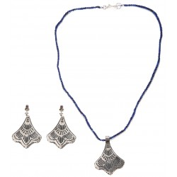 Roman Style Silver Necklace and Earrings Set