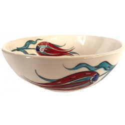 Ceramic Bowl with Red Tulip