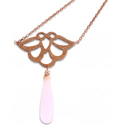 Rose Quartz Iznik Silver Necklace