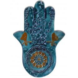 Fatima's Hand (Hamsa) Ceramic Tablet - Turquoise