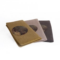400.000 Years of Istanbul - Smoked Colored Linen Clutch Bag with Brass Medallion
