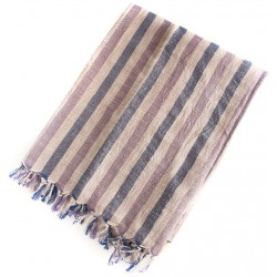 Linen Turkish Towel / Pestemal - Blue Violet Stripe