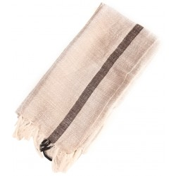 Linen Turkish Hamam Towel / Pestemal - Black stripe