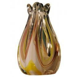 White Yellow Red Tulip Glass Vase