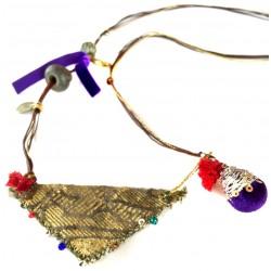 Muska Long Necklace - Purple Ribbon