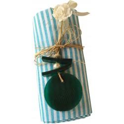 Pestemal / Turkish Hamam Towel - Turquoise Striped