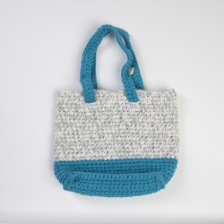 Blue-White Knitted Shoulder Bag