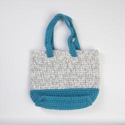 Blue-White Knitted Shoulder Bag