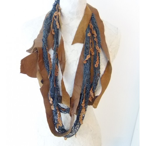 Vintage Necklace with Point Lace, Silk Thread and Leather Straps