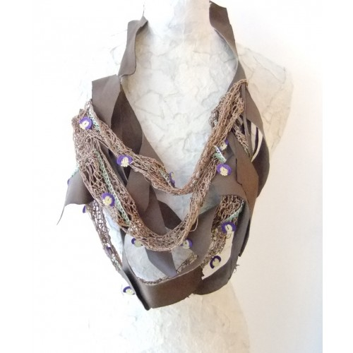 Grey Vintage Necklace with Point Lace, Silk Thread and Leather Straps