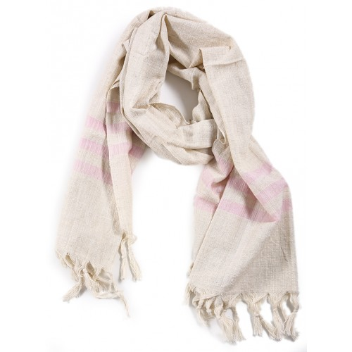 Silk and Linen Scarf  with Light Pink Stripes
