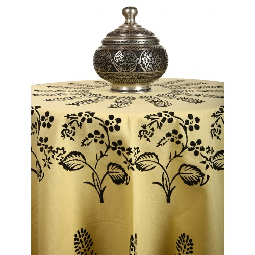 """Yellow Table Cloth with """"Tokat"""" and """"Ottoman"""" Patterns"""