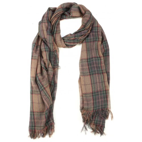 Beige Burberry Pattern Goat Wool and Silk Pashmina Scarf