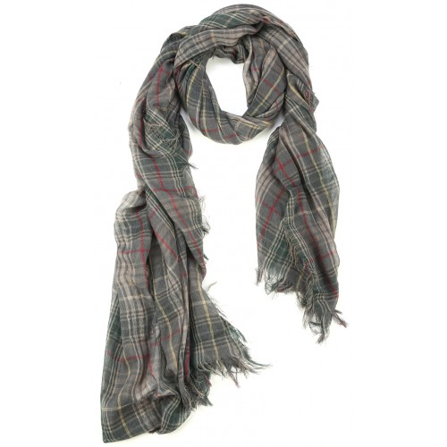 Green Beige Burberry Pattern Goat Wool and Silk Pashmina Scarf