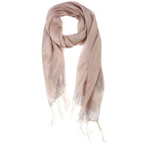 Pink Raw Silk Fringed Scarf