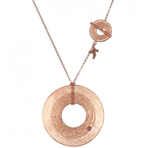 Pink Rhodium Plated Silver Necklace with Pyrope