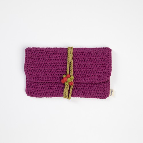 Fuschia Knitted Clutch Bag with Grap Buttons