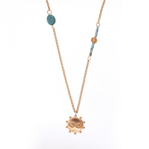 """""""Eye"""" - 24-carat Gold Plated Silver Necklace with Turquoise"""
