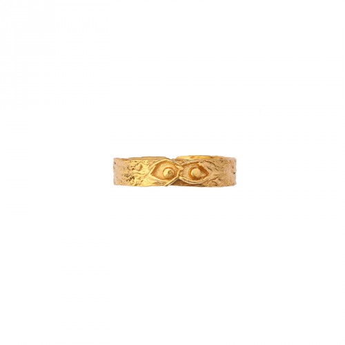 """""""Eye"""" 24 Carat Gold Plated Silver Ring"""