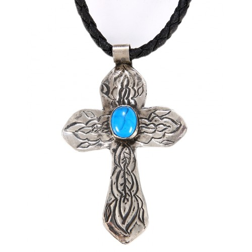Turquoise Cross Silver Necklace