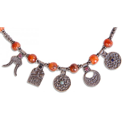 Goddess Semiramis Necklace with Coral