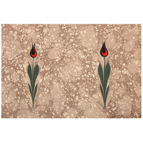 Double Tulip Marbling Art on Paper