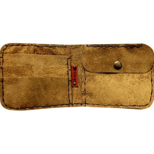 Suede Leather Wallet - Snuff Colored
