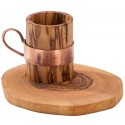 Olive Wood Copper Handle Cup
