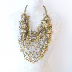 Vintage Necklace Knitted with Paper Thread and Needlework