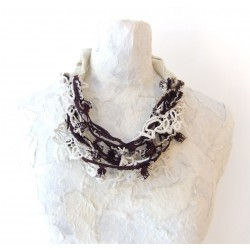 Vintage Necklace with Antique Worth Point Lace