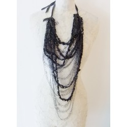 Braided Necklace - Leather and Grey Silk Threads