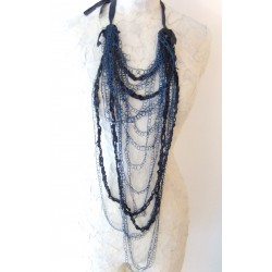 Braided Necklace - Leather and Blue Silk Threads