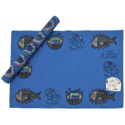 Bedri Rahmi Table Mat Block Printing - Dark Blue
