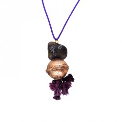 400.000 Years of Istanbul - Gemstone, Bronze Corded Tasseled Purple Necklace