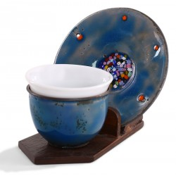 Copper Enameled Turkish Coffee Cup / Espresso Cup - Blue