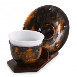 Copper Enameled Turkish Coffee Cup / Espresso Cup - Orange