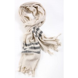 Silk and Linen Scarf  with Dark Grey Stripes