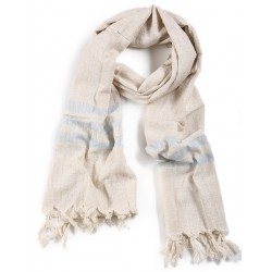 Silk and Linen Scarf - Light Blue Stripes