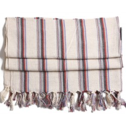 Turkish Hamam Towel / Pestemal with Grey and Red Stripes