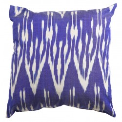 Silk Ikat Pillow Cover - Dark Blue
