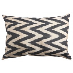 Silk Ikat Pillow Cover - Dark Grey