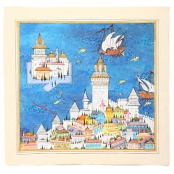 Galata Tower and Maiden's Tower Ottoman Miniature