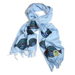 Bedri Rahmi Light Blue Pashmina shawl