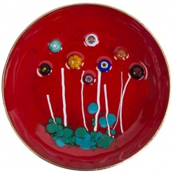 Evil Eye Red Enamel Plate