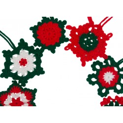 Lacework Snow Flakes for New Year, Red and Green