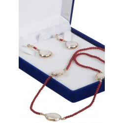 Coral and Baroque Pearl Necklace and Earring Set